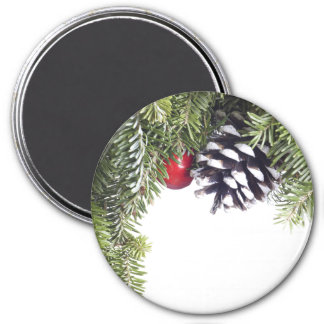 Christmas Wreath Pine Cone Red Berry Template 7.5 Cm Round Magnet