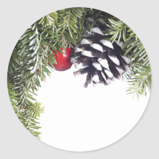 Christmas Wreath Pine Cone Red Berry Template Round Sticker
