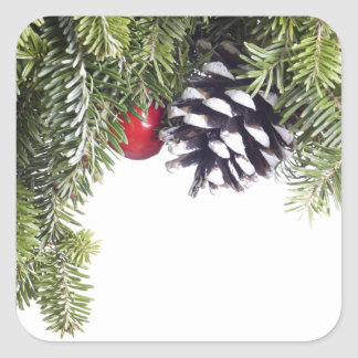 Christmas Wreath Pine Cone Red Berry Template Square Sticker