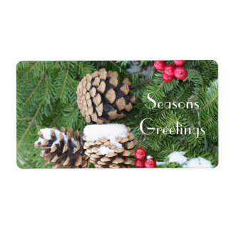 Christmas wreath, pine cones and berries shipping label