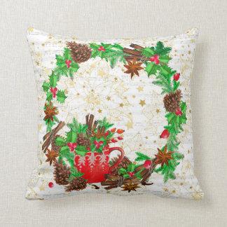 Christmas wreath pine cones cushion