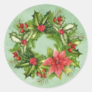 Christmas Wreath Postage Stamp Classic Round Sticker
