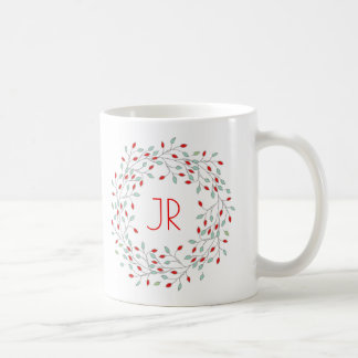 Christmas Wreath Red Berries & Green Leafs Coffee Mug