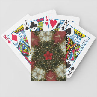 Christmas Wreath Red Green Gold with Red Star Bicycle Playing Cards