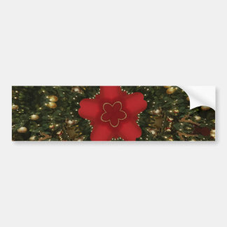 Christmas Wreath Red Green Gold with Red Star Bumper Sticker