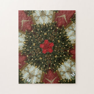 Christmas Wreath Red Green Gold with Red Star Jigsaw Puzzle