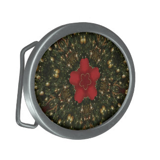 Christmas Wreath Red Green Gold with Red Star Oval Belt Buckles