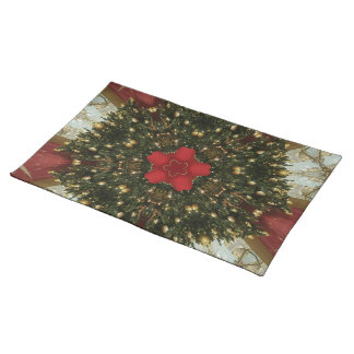 Christmas Wreath Red Green Gold with Red Star Placemat