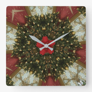 Christmas Wreath Red Green Gold with Red Star Square Wall Clock