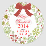 Christmas Wreath Red Green & White Marry Christmas Round Sticker