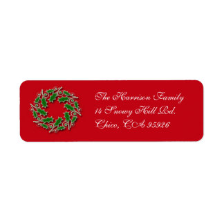 Christmas Wreath Return Address Label