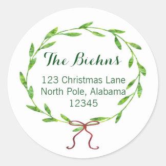 Christmas Wreath Return Address Label Round Sticker