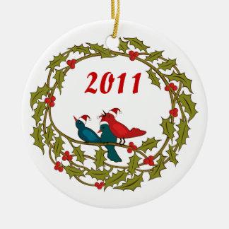 Christmas Wreath Round Ceramic Decoration