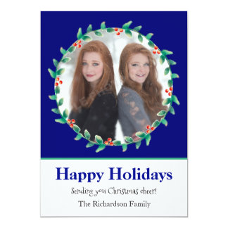 Christmas Wreath Royal Blue and White Photo Card
