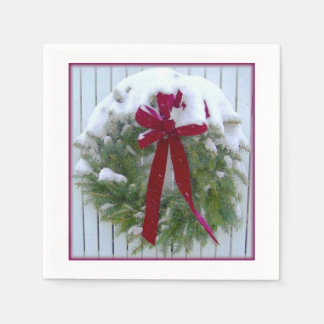 Christmas Wreath Snow Covered Holiday Red Bow Paper Serviettes