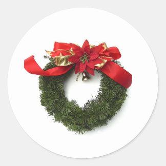 Christmas Wreath Round Sticker