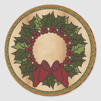 Christmas Wreath Round Stickers
