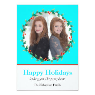 Christmas Wreath Teal and White Photo Card