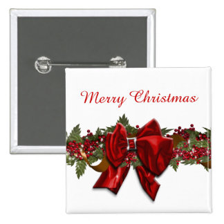 Christmas wreath traditional December July 15 Cm Square Badge