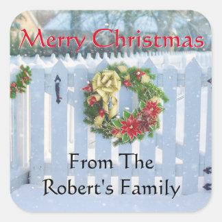 Christmas Wreath Winter Scene Custom Stickers