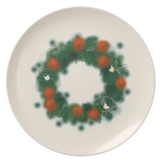 Christmas wreath with doves and baubles plate