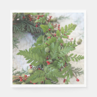 Christmas wreath with ferns paper napkin