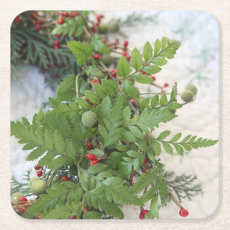Christmas wreath with ferns square paper coaster