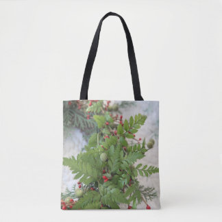 Christmas wreath with ferns tote bag
