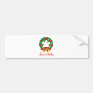 Christmas Wreath with Ornaments Bells and Candy Bumper Sticker