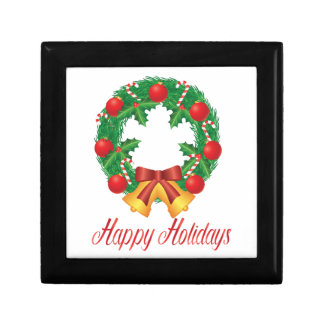 Christmas Wreath with Ornaments Bells and Candy Gift Box