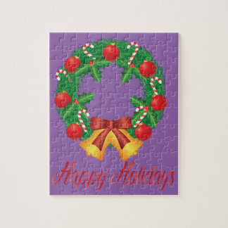 Christmas Wreath with Ornaments Bells and Candy Jigsaw Puzzle