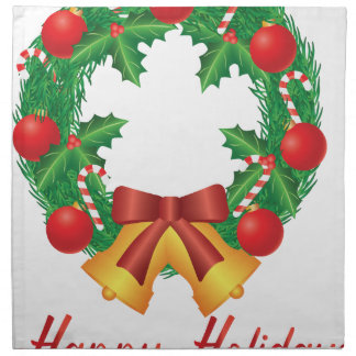 Christmas Wreath with Ornaments Bells and Candy Napkin