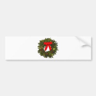 Christmas Wreath with Pine Cones and Red Bow Bumper Sticker