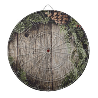 Christmas Wreath with Rustic Wood Background Dartboard