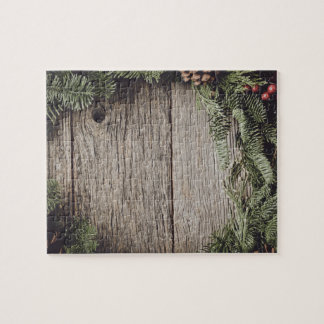 Christmas Wreath with Rustic Wood Background Jigsaw Puzzle