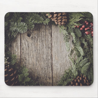 Christmas Wreath with Rustic Wood Background Mouse Pad