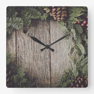 Christmas Wreath with Rustic Wood Background Square Wall Clock