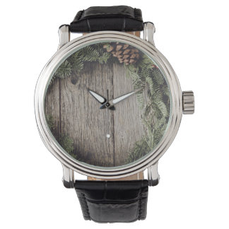 Christmas Wreath with Rustic Wood Background Watch