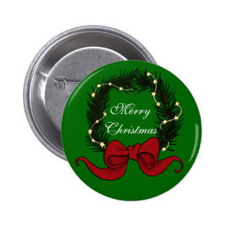 Christmas Wreath with Stars Big red bow Pin