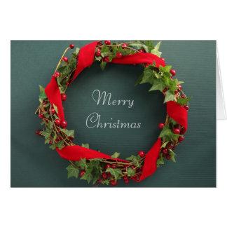 Christmas wreath with velvet ribbon card
