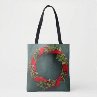 Christmas wreath with velvet ribbon tote bag