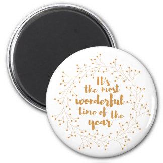 Christmas wreath wonderful time - golden 6 cm round magnet