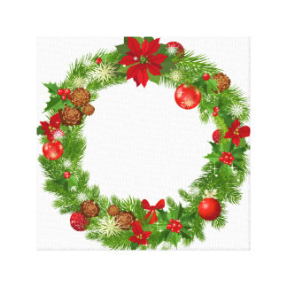 Christmas Wreath Wrapped Canvas Gallery Wrapped Canvas