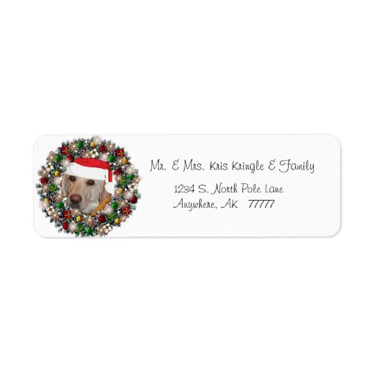 Christmas Wreath Yellow Labrador Address Label