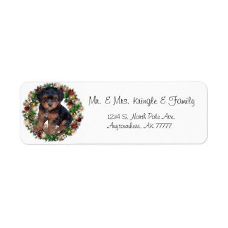 Christmas Wreath Yorkshire Terrier Gift Labels