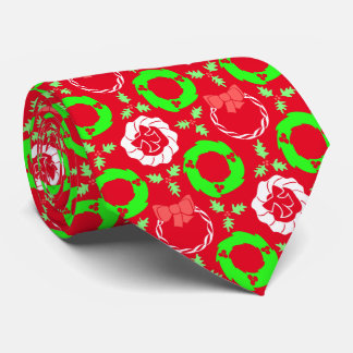 Christmas Wreaths Patterned Red Tie