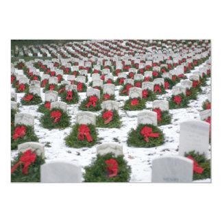 Christmas wreaths snow Arlington National Cemetery 13 Cm X 18 Cm Invitation Card