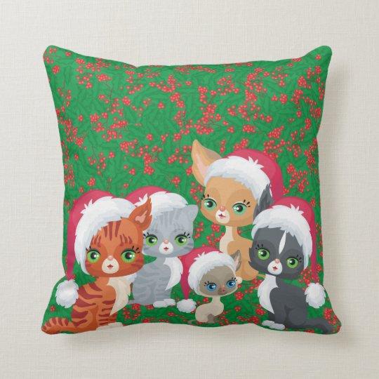 Christmas Xmas Cats Kittens Santa Hat Kitty Holly Cushion