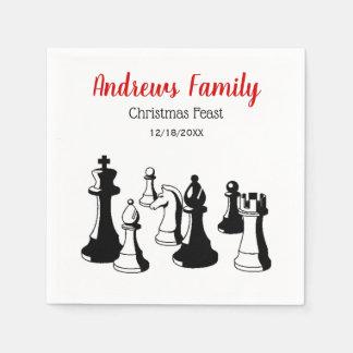 Christmas Xmas - Chess Pieces Vintage Art #2 Paper Napkin