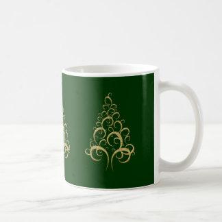 Christmas Xmas elegant gold tree coffee office Coffee Mugs